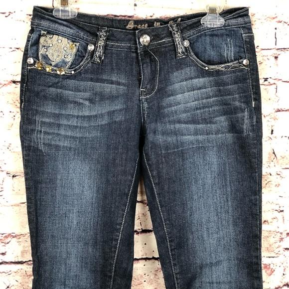 Grace Denim - Grace jeans crop USA size 7 Jeweled pockets dark